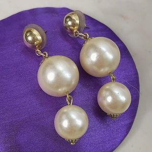 "Faux Pearl And Gold Earrings 2"" Drop"
